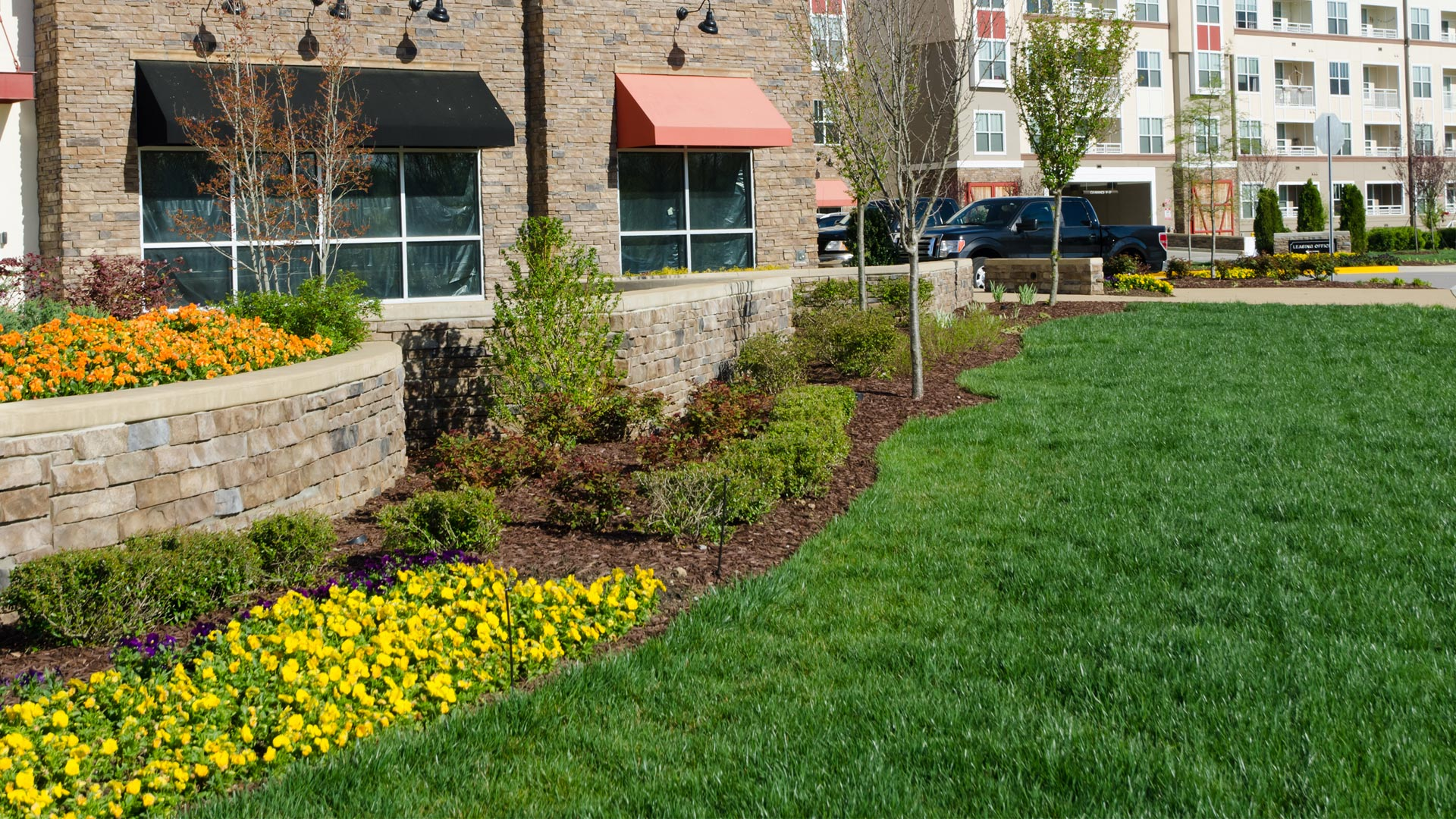 Recently mowed and well maintained lawn at a commercial property in Allentown, %%state%.