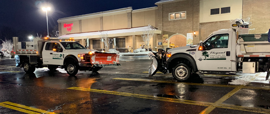 Our snow plows in a commercial parking lot  located in Easton after clearing all the snow.
